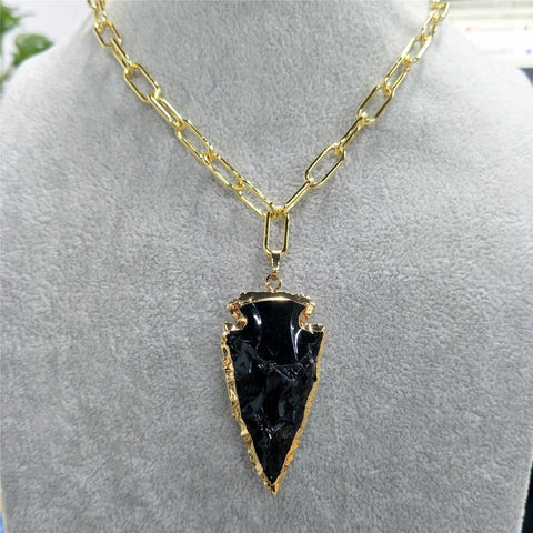 Arrowhead Obsidian Pendant Gold Chain Necklace AL203