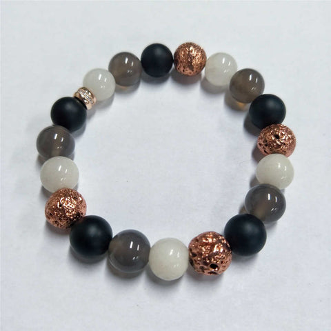 10mm Natural Stone Agate Bead Bracelet AL205