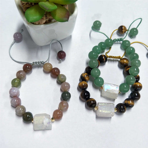 10mm Round Green Aventurine Tiger Eye Agate Bracelet AL206
