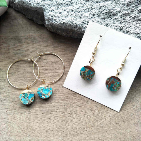 Round Hoop Tiffany Turquoise Earrings G2039-E