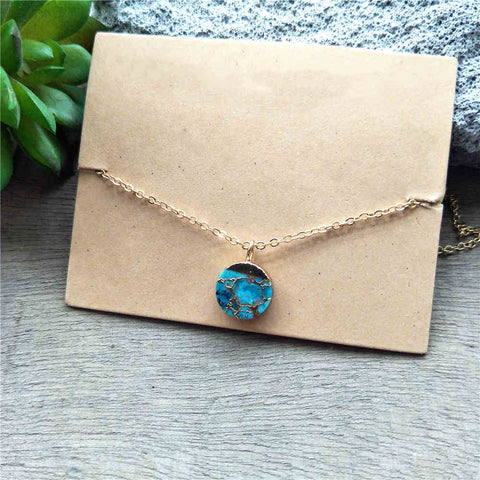 Round Gold Tiny Turquoise Charm Necklace G2039