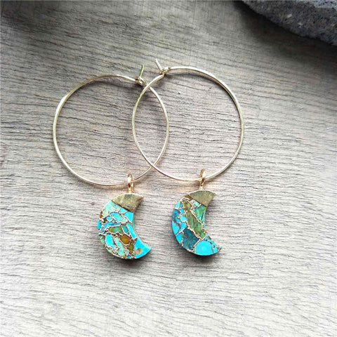 Crescent Moon Hoop Tiffany Turquoise Earrings G2039-E
