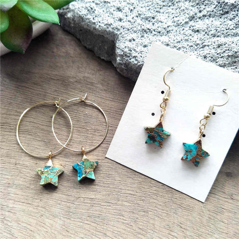 Star Hoop Tiffany Turquoise Earrings G2039-E