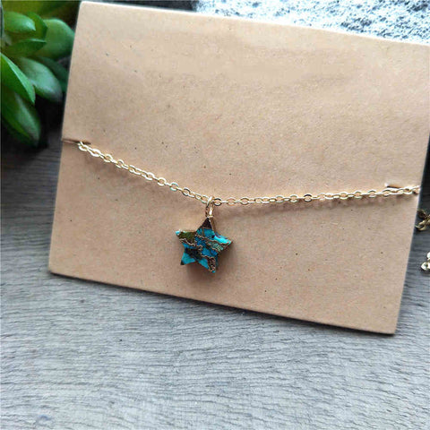 Star Gold Tiny Turquoise Charm Necklace G2039
