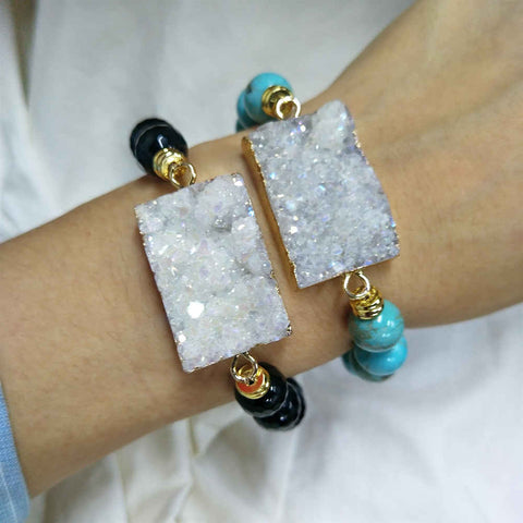 Rectangle White Druzy Gemstone 10mm Beaded Bracelet AL286