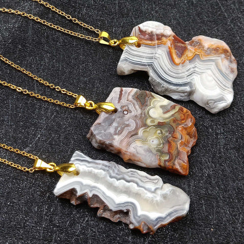Natural Mexican Agate Pendant Necklace Gold AL181