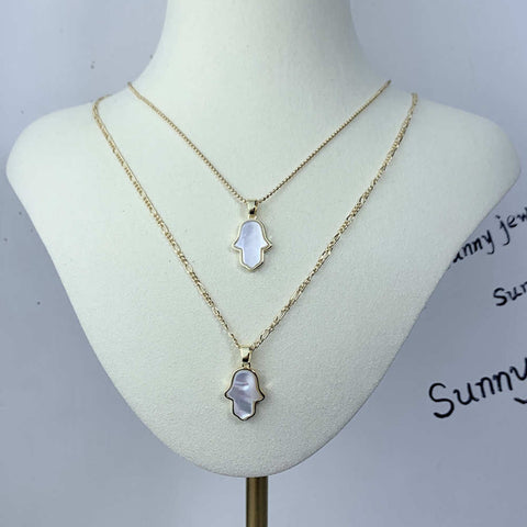 Gold Plated White Shell Hand shape Pendant Necklace AL088