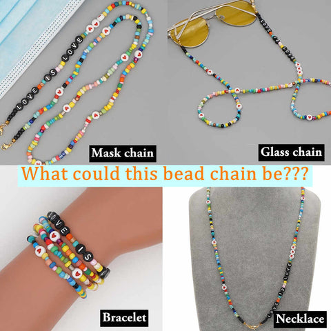 Glasses Chain Street Style Rainbow Beads Mask Chain Letter Necklace