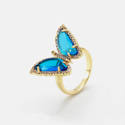 Gold Plated Zircon Colorful Butterfly Rings