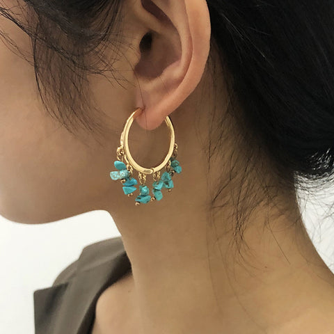 Boho Turquoise Beads Round Gold Tassel Earrings AL238