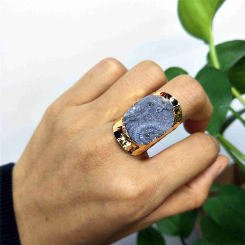 Natural Galaxy Stone Aura Gold Plated Band Ring