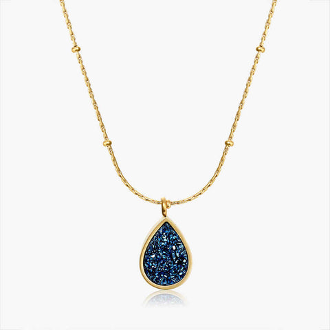 Drop Blue Druzy Charm 18K Necklace AL076
