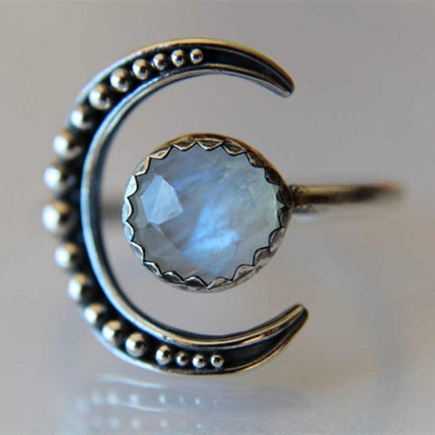 Crescent Moonstone Ring Bohemian Jewelry AL269