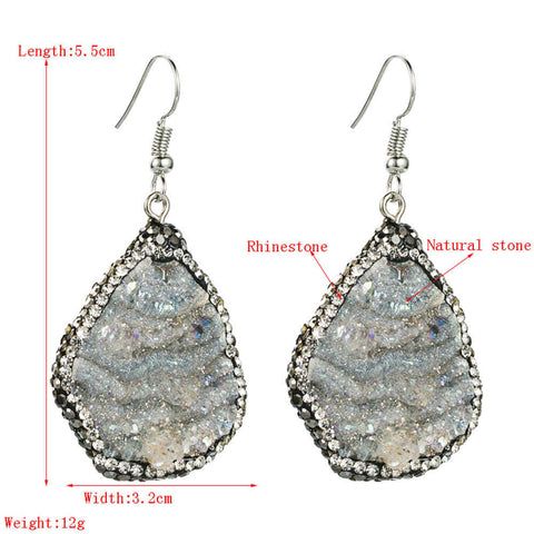 Natural Galaxy Stone Rhinestone Earrings AL264