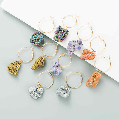 Natural Druzy CrystalCluster Earrings For Women AL263