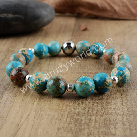 Blue Turquoise Rosary Beads Bracelet Dress For Women HD0171