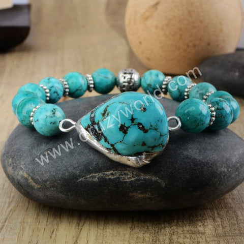 Blue Turquoise Beads Bracelet Stone Accessory Silver Plated HD0175