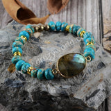 Labradorite Natural Turquoise Beads Bracelet Gold Plated HD0176