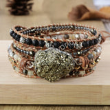 Pyrite Natural Multi-kind Stones Wrap Bracelet Silver Plated HD0177