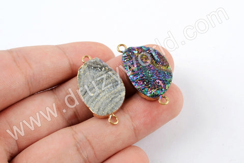 Gold Plated Mango Shape Rainbow Titanium Galaxy Connector G1614