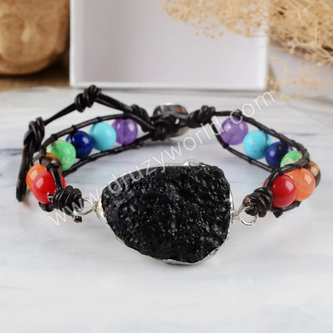 Tourmalinite Multi-kind Stones Bracelet Adjustable Silver Plated HD0149