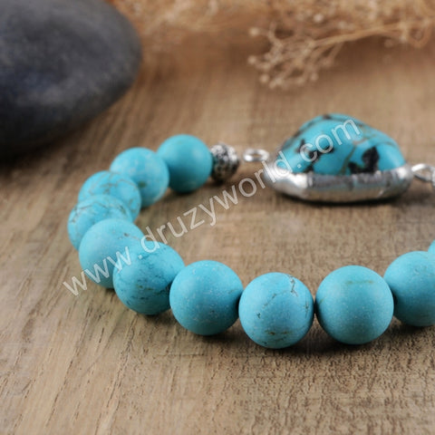 Natural Turquoise Druzy Crystal Beads Bracelet Silver Plated HD0150
