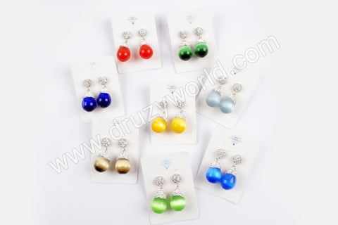 Rhinestone Pave Mammade Cat's Eye Silver Stud Earrings JAB877