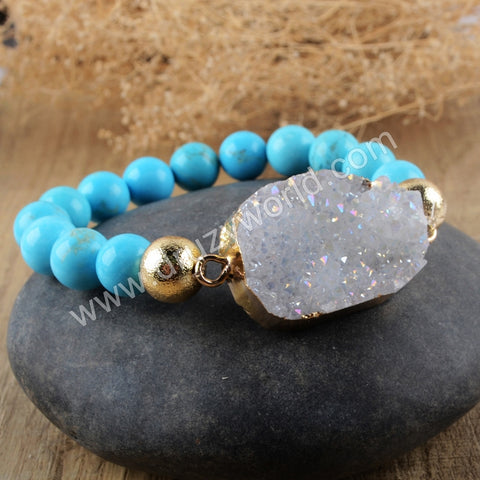 Howlite Turquoise Druzy Crystal Beads Bracelet Gold Plated HD0151