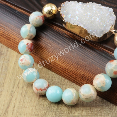 Sea Sediment Jasper Druzy Crystal Beads Bracelet Gold Plated HD0152