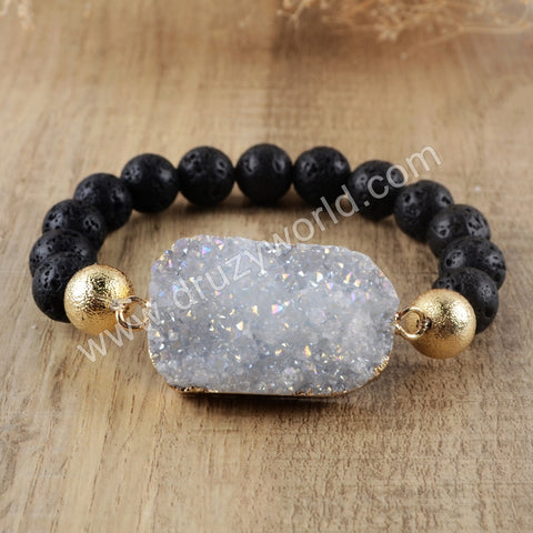 Pelelith Druzy Crystal Beads Statement Bracelet Gold Plated HD0153