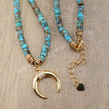 Natural Turquoise Beads Necklace Boho Style Gold Plated HD0154