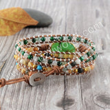 Hand Made Gypspy Bohemian Leather Gemstone Beaded Wrap Bracelet HD0110