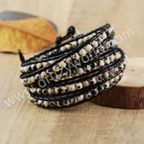 Hand Made Gypspy Bohemian Leather Gemstone Beaded Wrap Bracelet HD0092