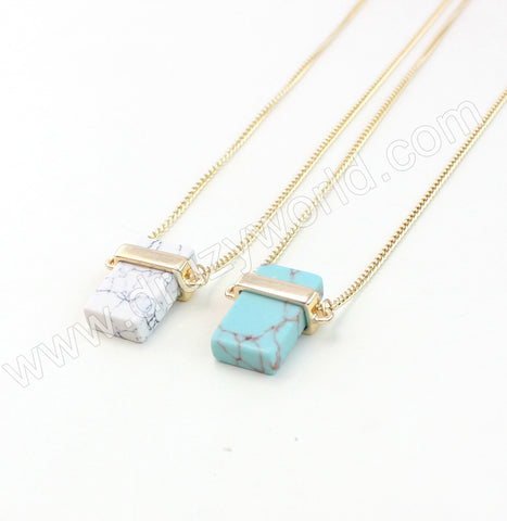 Gold Plated Rectangle Howlite Turquoise Necklace WX1715