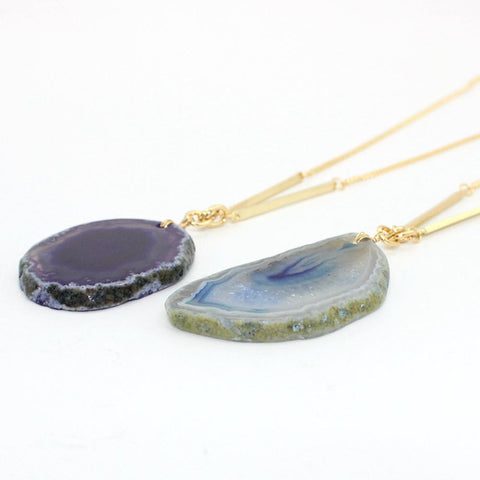 "Natural Slice Agate Stone 28"" Gold Necklace"