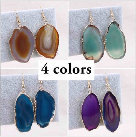 Slice agate pendant Earrings