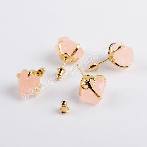Gold Plated Rose Quartz Claw Stud Earrings ZG0444