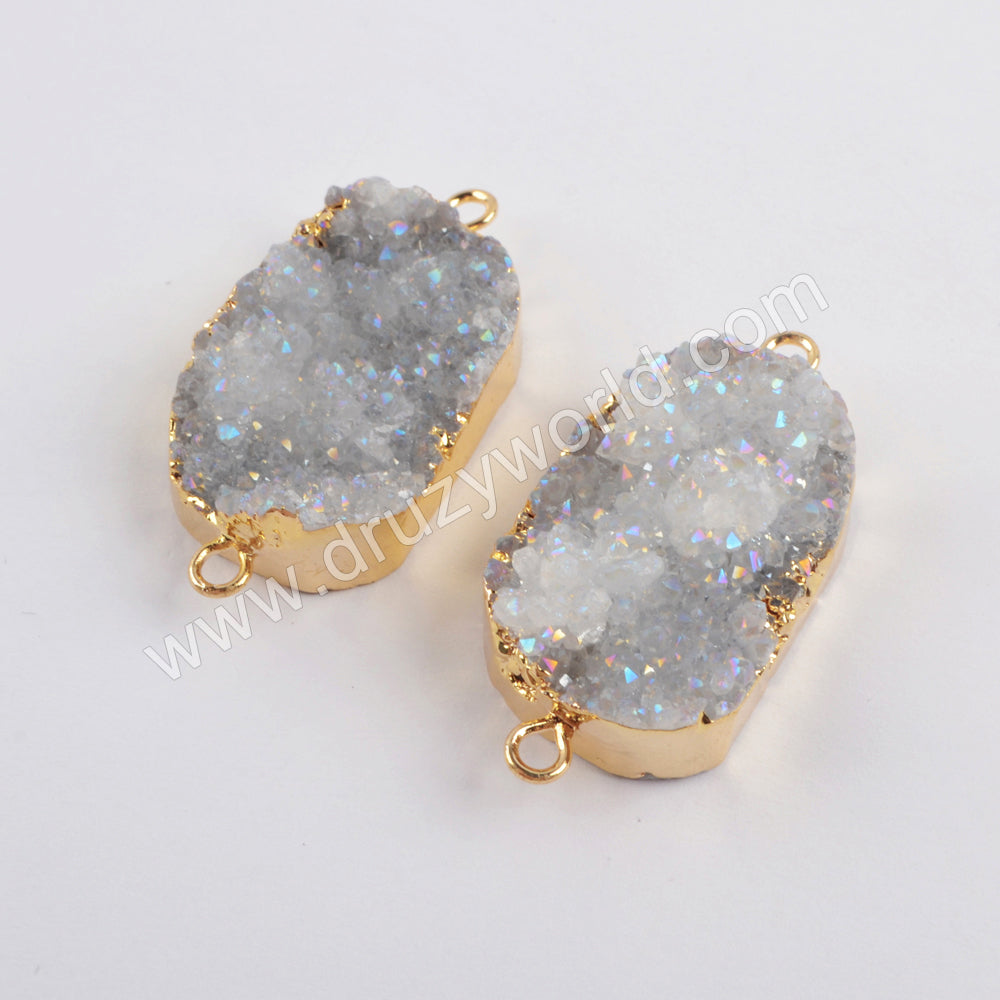 Fluorite druzy connectors with two gold plated hoop G0063