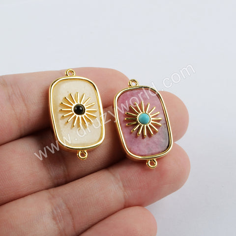 Gold Plated Bezel Natural Stone Connector WX1624