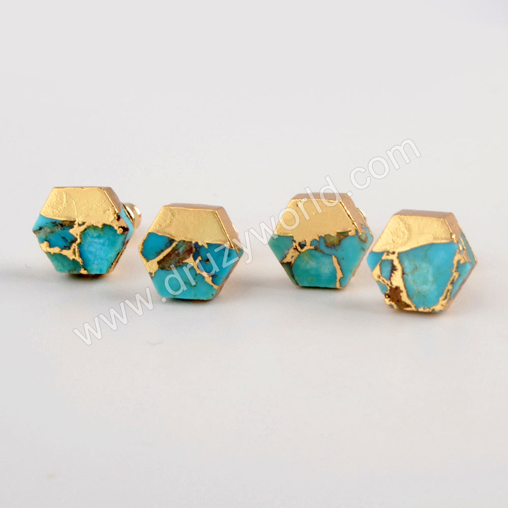 Gold Plated Hexagon Copper Turquoise Stud Earrings G1985