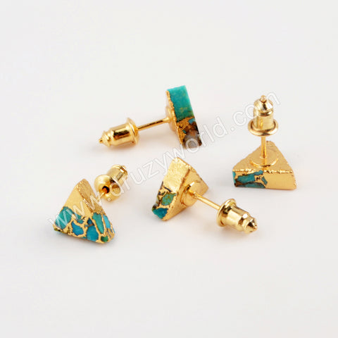 Gold Plated Triangle Copper Turquoise Stud Earrings G1986