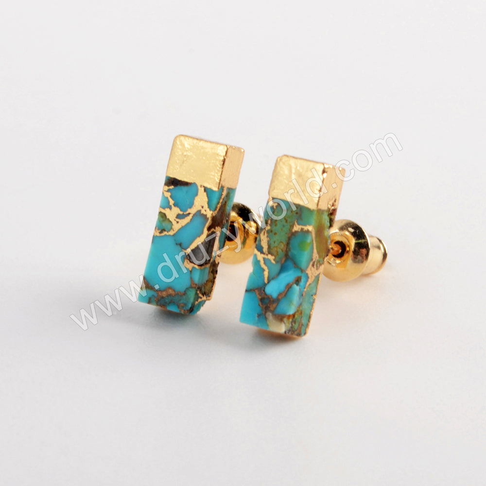 Gold Plated Rectangle Copper Turquoise Stud Earrings G1987