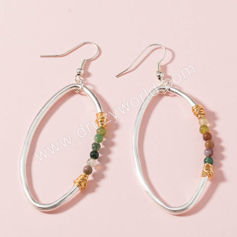 Silver Plated Marquise Natural Stone Dangle Earrings WX1664