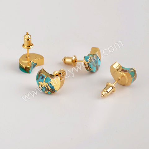 Gold Plated Crescent Copper Turquoise Stud Earrings G1988