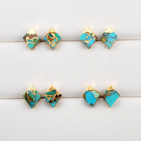 Gold Plated Rhombus Copper Turquoise Stud Earrings G1989