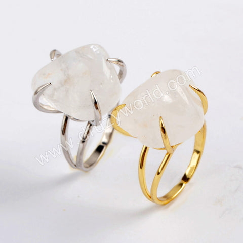 Genuine White Quartz Claw Adjustable Ring Gold/Silver Prong Set ZG0443