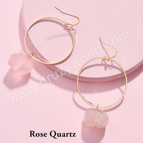 Gold Plated Rose Quartz Labradorite Dangle Earrings WX1719