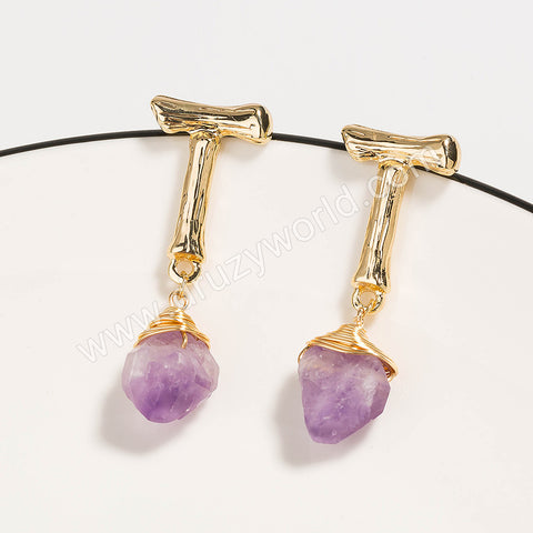 Gold Plated Wire Wrap Natural Amethyst Stud Earrings WX1681