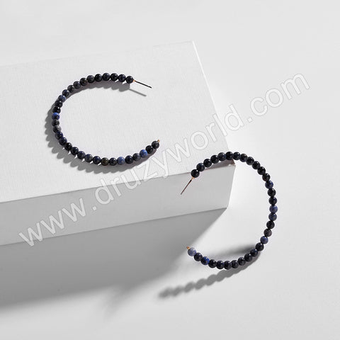 C Shape Natural Stone Stud Earrings WX1725