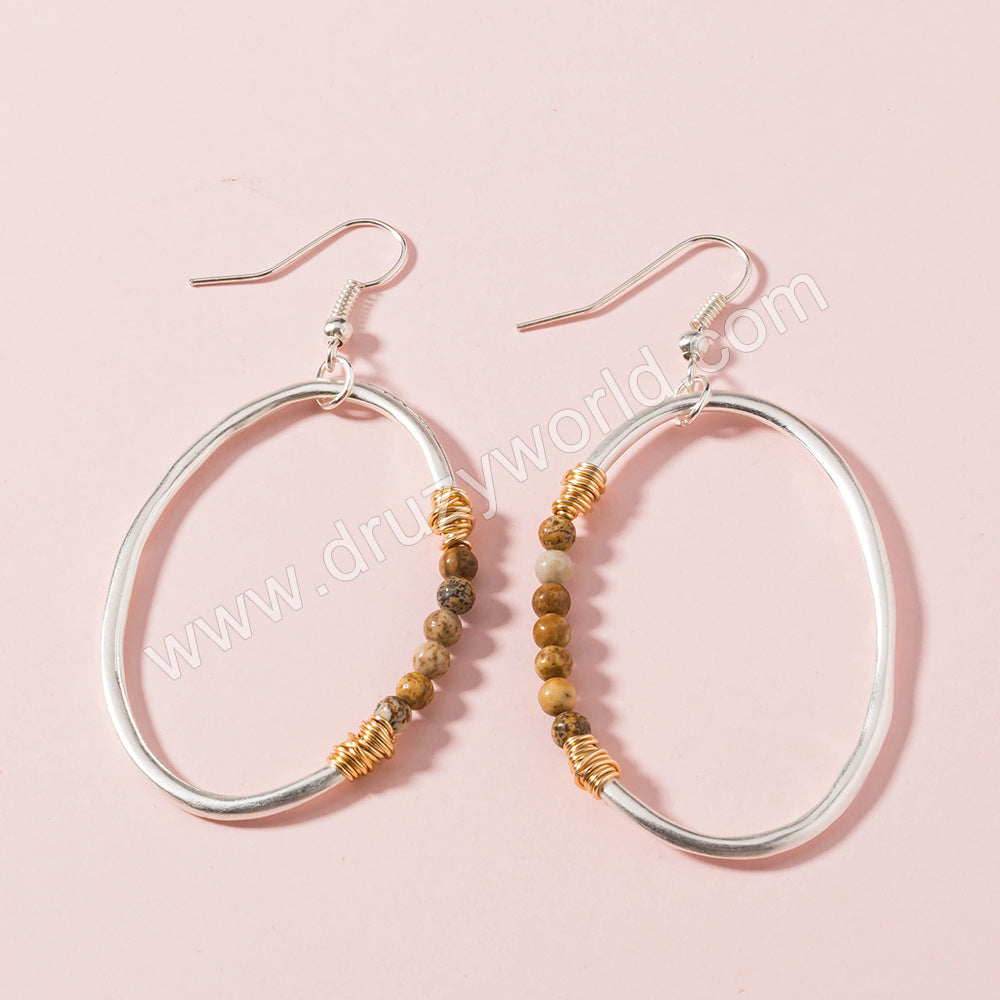 Silver Plated Oval Natural Stone Dangle Earrings WX1663